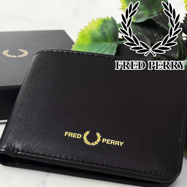【あす楽】【送料無料】フレッドペリー FRED PERRY 二つ折り財布 メンズ レディース L8278 本革 ウォレット 折りたたみ コンンパクト 黒 ブラック BLACK 月桂樹 evid /-