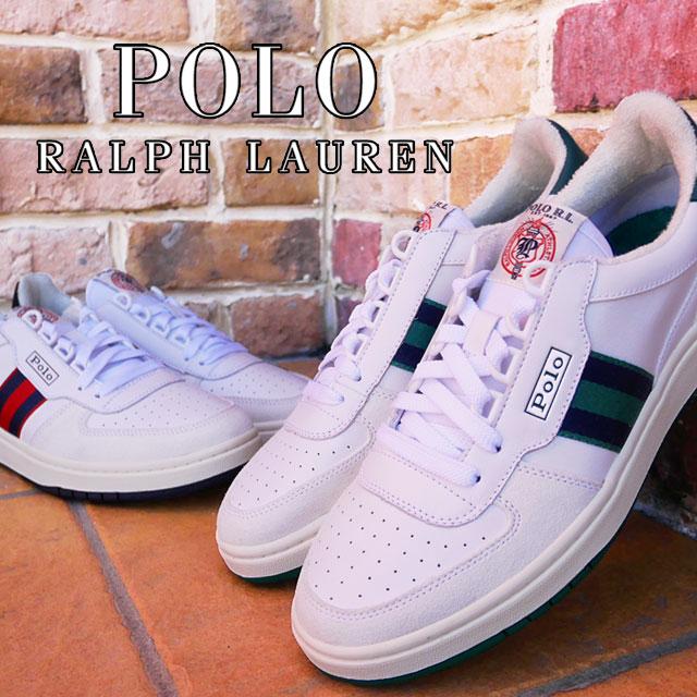 【あす楽】【送料無料】ポロ ラルフローレン POLO RALPH LAUREN メンズ スニーカー ローカット ポロコート カジュアルシューズ ワイズD 靴 カジュアルシューズ ホワイト/グリーン ホワイト/レッド RD01 evid