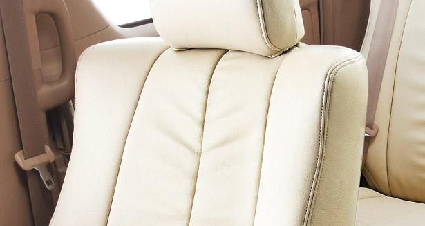 Bellezza/ベレッツァシートカバーステップワゴンRF1/RF2プレミアム本革&PVCレザーナチュラルギャザー×ライトグレー