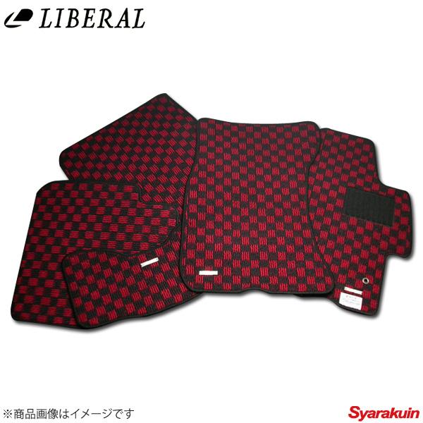 LIBERAL/リベラル フロアマット レッド×ブラック スバル/SUBARU インプレッサ GDB/GDA 5枚セット