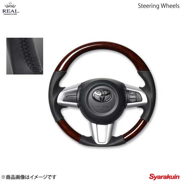 REAL レアル ステアリング SUBARU/スバル ジャスティ 900系 オリジナルシリーズ ガングリップ ブラウンウッド ブラック ユーロステッチ