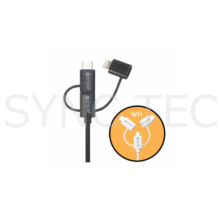 売り込み iSimple IS9406WH ipod iphone ライトニングコネクタ対応 爆売り 3way 66 is9406wh isimple 充電ケーブル USB ホワイト
