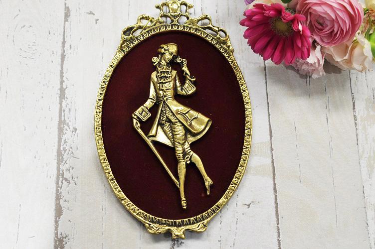 スペイン製 真鍮 ブラス 壁掛け オブジェ サインプレート レリ-フ 紳士
