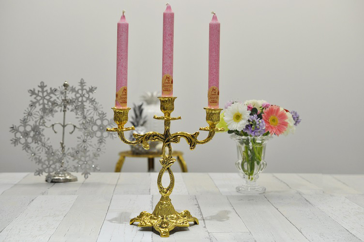 3本立 キャンドルホルダー 燭台 キャンドルスタンド リボン スペイン製 真鍮 ブラス 高級
