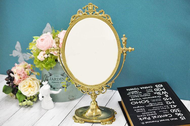 イタリア製 真鍮 ブラス スタンドミラー M 楕円 鏡 卓上
