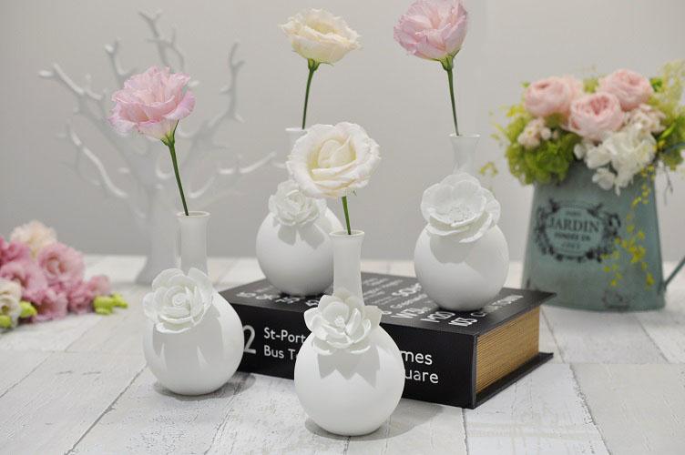 フラワーベース 花瓶 一輪差し 4種類 おしゃれ ポーセリン 磁器 花モチーフ 花器 ZODAX ゾダックス