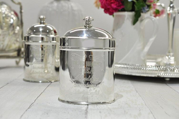 シルバー ティーキャニスター オーバル 茶筒 茶葉入れ ティータイム テーブル キッチン雑貨 イギリス製