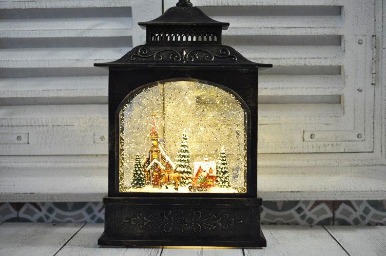 ホリデー LED ランタン クリスマス 飾り 置物 クリスマスオブジェ スノードーム プレゼント