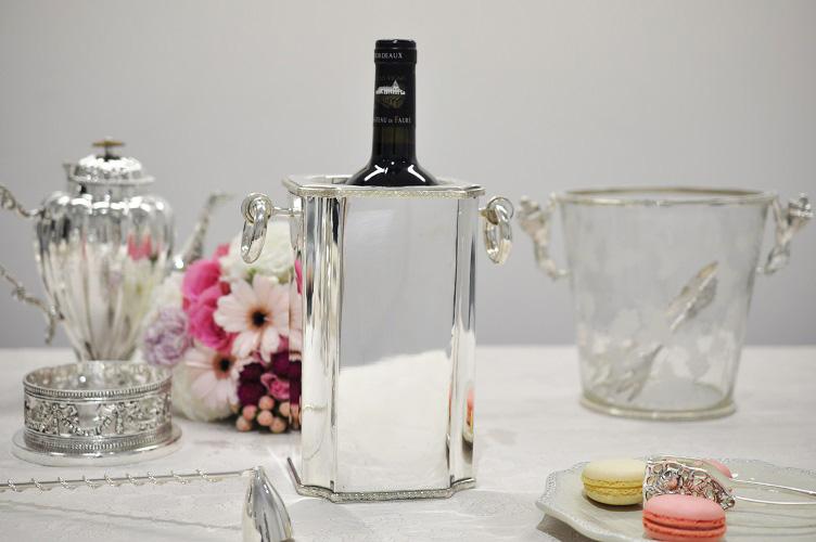 シルバー スクエア ワインボトルホルダー イタリア製 Royal Family ロイヤルファミリー テーブル キッチン雑貨 ワイン プレゼント