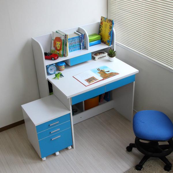 送料無料 3WAYレイアウト デスクセット デスク+書棚付きラック+3段チェスト ブルー&ホワイト 本棚 書棚 収納 PCデスク 学習デスク 学習机 書斎 ワークデスク オフィスデスク 勉強机 机 つくえ 作業机 おしゃれ 北欧 かわいい