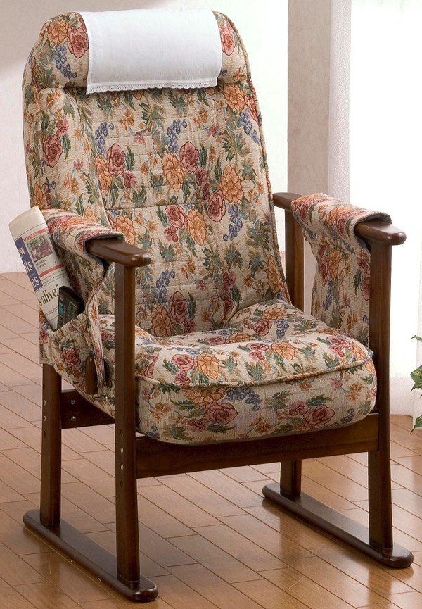 木製肘付きリクニライニング高座椅子 コンパクト 高さ調節 座椅子 リクライニング座椅子 ポケット付 収納 和室 リビング ダイニング 居間 父の日 母の日 高級感