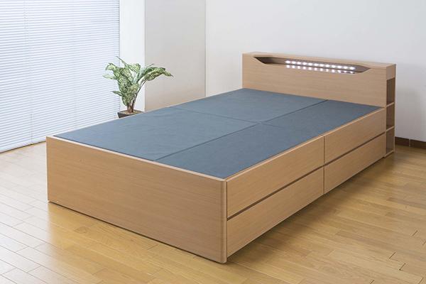 LEDライト付きたっぷり収納ベッド セミダブル ベッドフレームのみ 木製 収納ベッド 棚付き コンセント付き セミダブルベッド おしゃれ 北欧 モダン