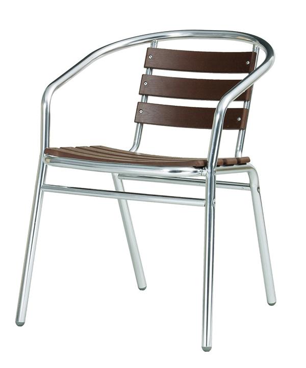 送料無料 屋外用アルミアームチェア ガーデンエクステリア 椅子 アルミチェアー いす ダイニングチェア 庭 屋外 アウトドア ガーデン テラス ベランダ スタッキング シンプル