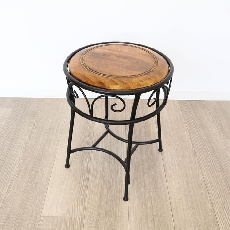 送料無料 アイアン&ウッドラウンドスツール 椅子 チェアー スリム コンパクト 円型 丸型 一人掛けスツール 腰掛け いす 椅子 チェアー 玄関 キッチン リビング おしゃれ レトロ モダン