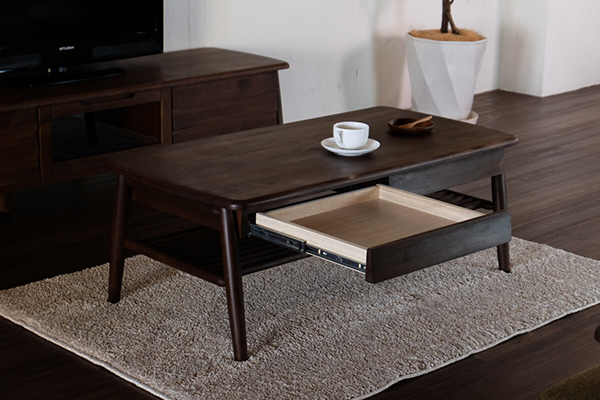 送料無料 完成品 センターテーブル 単品 幅100cm ミディアムブラウン 棚付き 引き出し 収納 木製 アルダー リビングテーブル ローテーブル カフェ 北欧 モダン 西海岸 おしゃれ 高級感