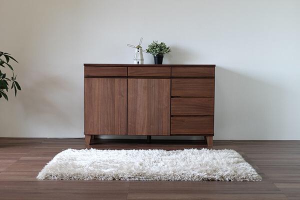 送料無料 サイドボード 幅120cm 完成品 木製 天然木 キャビネット リビングボード ミディアムブラウン ウォルナット チェスト 電話台 FAX台 リビング収納 引き出し 本棚 おしゃれ 北欧 モダン シンプル 高級感