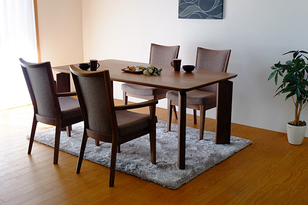 送料無料 ダイニングテーブル 単品 幅170cm ウォールナット 6人掛け 6人用 木製 食卓テーブル 机 作業台 カフェ 食事 北欧 ミッドセンチュリー 和モダン おしゃれ 西海岸 インダストリアル 高級感