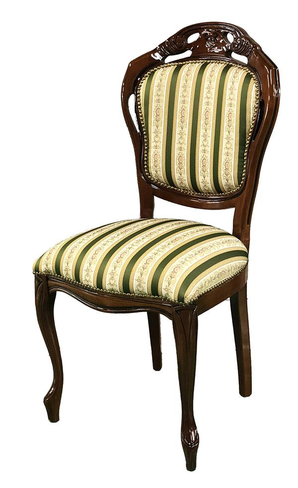 送料無料 イタリア製 ダイニングチェアー 茶枠 ストライプ生地 食卓椅子 木製 アンティーク クラシック エレガント 高級感 おしゃれ 猫脚 イス 椅子 カフェ