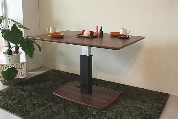 ガス圧式 ダイニング昇降テーブル 幅120cm 無段階調節 リフトテーブル 食卓テーブル センターテーブル リビングテーブル ローテーブル ウォールナット 机 作業台 カフェ ブルックリン 男前インテリア おしゃれ 高級感