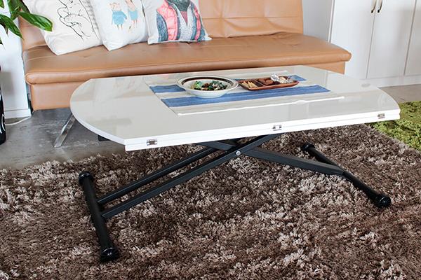 リフティングテーブル リビングテーブル 幅120cm ホワイト キャスター バタフライ 丸テーブル センターテーブル 昇降テーブル 食卓テーブル 机 作業台 カフェ 北欧 モダン インテリア おしゃれ 高級感
