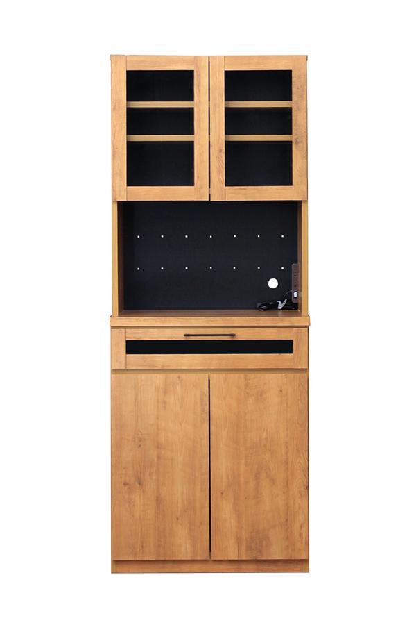 70キッチンボード 木製 食器棚 レンジ台 炊飯器収納 キッチン収納 カップボード 収納棚 ビンテージスタイル シンプル スタイリッシュ 男前インテリア おしゃれ 高級感