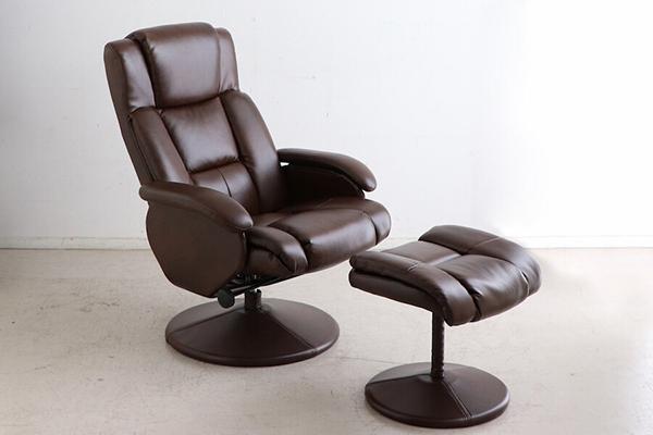 パーソナルチェアー オットマン付 ブラウン リクライナー 一人掛け椅子 1人用 いす 合成皮革 合皮 チェア リビング シック シンプル ボリューム ゆったり おしゃれ 高級感