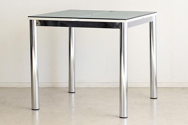 幅80cm ダイニングテーブル単品 2人掛け 2人用 机 食卓テーブル ガラステーブル スチール 作業台 リビング おしゃれ シンプル スタイリッシュ 高級感