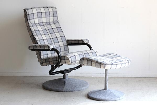 パーソナルチェアー オットマン付 グレー リクライナー 一人掛け椅子 1人用 いす リクライニング チェック柄 チェア リビング シック シンプル 北欧 モダン ボリューム ゆったり おしゃれ 高級感