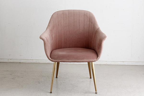 一人かけソファ ピンク ファブリック コンパクト ダイニングチェアー 食卓チェア いす 椅子 1人掛け 1人用 ソファー リビング アンティーク エレガント 高級感 おしゃれ