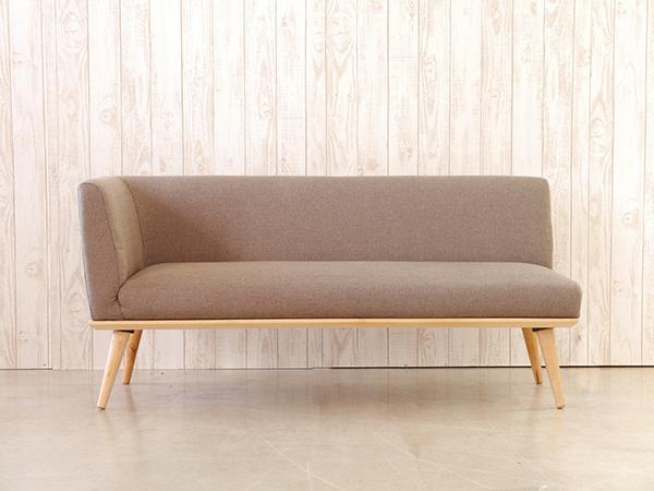 カウチ R ブラウン コンパクト ソファー 2人掛け 2人用 2Pソファ ダイニングソファー リビング ファブリック プリ イス いす 椅子 おしゃれ 北欧 モダン シンプル