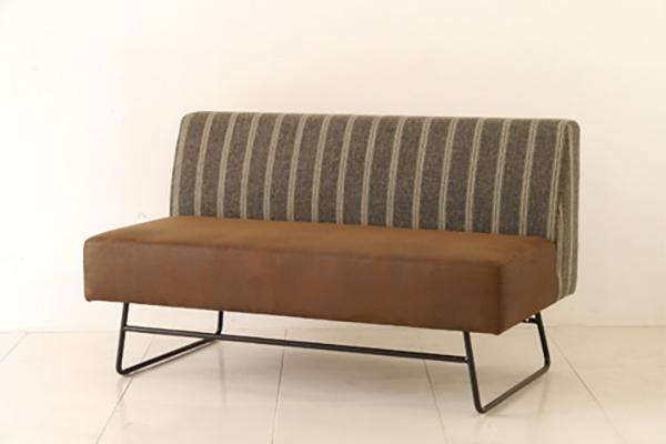 カフソファ 単品 ブラウン ストライプ ソファー 2人掛け 2人用 2Pソファ スチール ダイニングソファー リビング カフ イス いす 椅子 おしゃれ 北欧 モダン シンプル 高級感