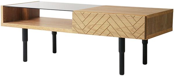 日本製 国産 リビングテーブル ディスプレイ 引き出し 収納 ガラス センターテーブル ローテーブル コレクションテーブル クロート おしゃれ デザイン 作業台 机 カフェ 北欧 モダン クラシック