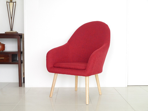 1Pソファ レッド コンパクト ソファー 1人掛け 1人用 かわいい ダイニングソファー リビング ファブリック リタ イス いす 椅子 おしゃれ 北欧 モダン シンプル