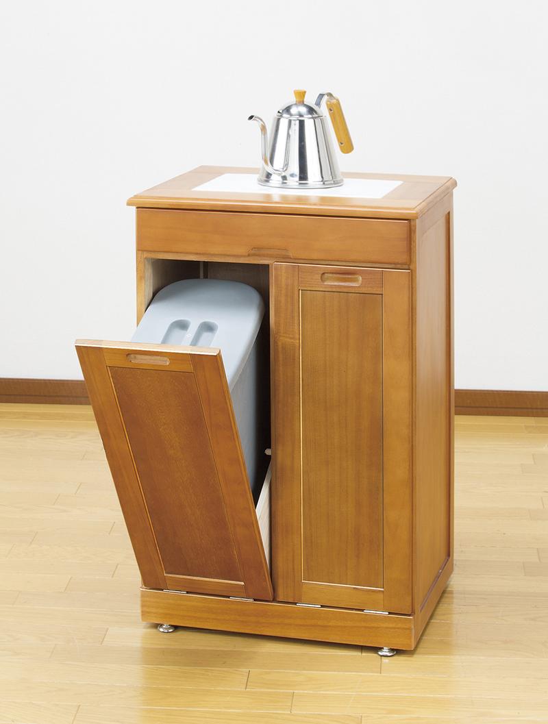 天然木 木製 分別 ダストボックス (タイル付き) ゴミ箱