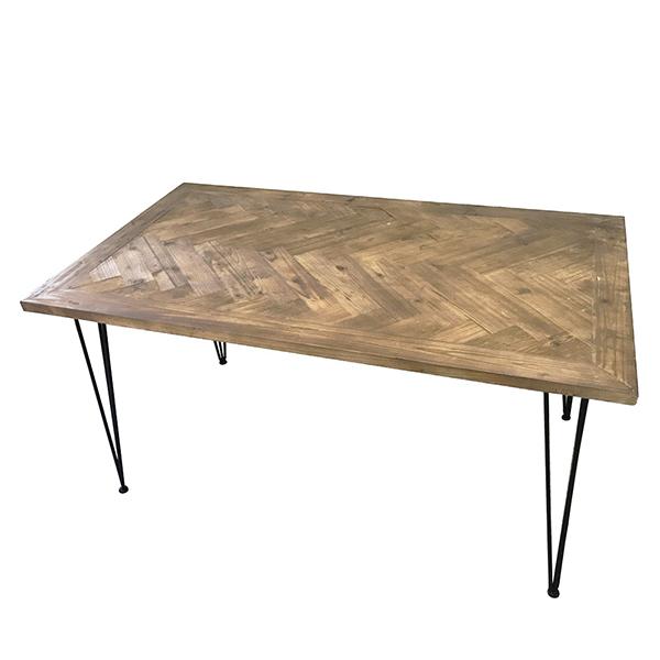 古材 ダイニングテーブル 単品 ダイニングテーブル ヘリンボーン柄 木目 木製 4人掛け テーブル 幅140cm ダイニング 机 作業台 4人 食卓テーブル アイアン インダストリアル ブルックリン 西海岸 男前インテリア アンティーク おしゃれ