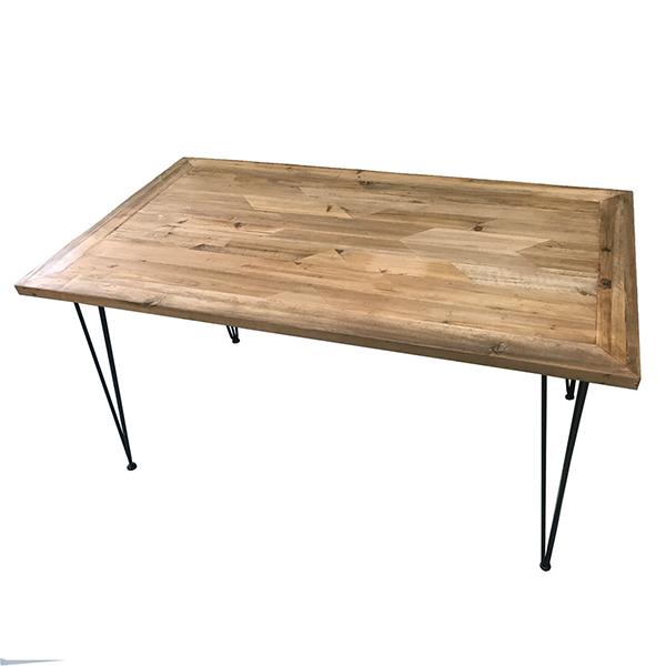古材 ダイニングテーブル 単品 ネイティブ柄 木製 4人掛け テーブル 幅140cm ダイニング 机 作業台 4人 食卓テーブル アイアン インダストリアル ブルックリン 西海岸 男前インテリア アンティーク おしゃれ