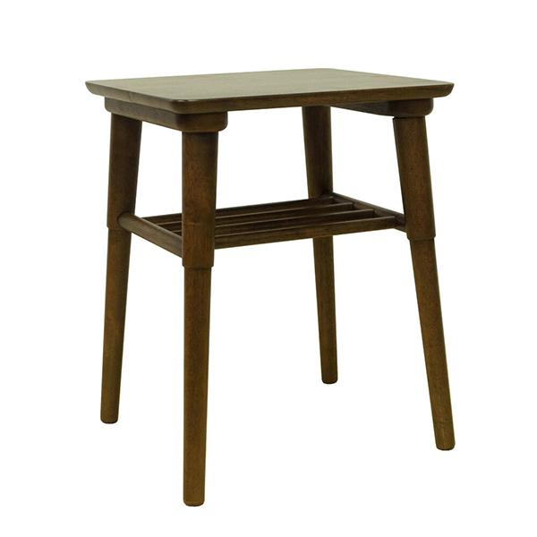 サイドテーブル ナイトテーブル 木製 リビング 寝室 花台 棚付き 収納 ソファーサイド ベッドサイド ラバーウッド 北欧 ウォールナット色 おしゃれ モダン シンプル