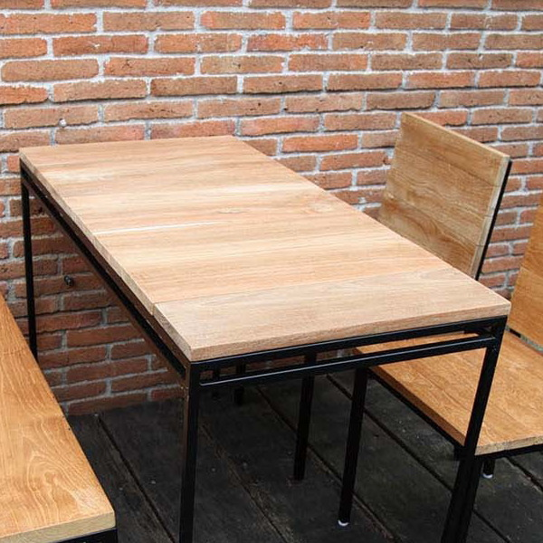 人気の 単品 カフェ モダン:家具のショウエイ アイアンウッドテーブル ガーデンテーブル おしゃれ チーク アイアン テラス 木製 アウトドア 机-エクステリア・ガーデンファニチャー