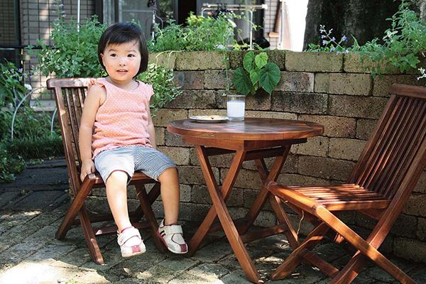 ミニ折り畳み3点セット 塗装品 折りたたみ 木製 ガーデンファニチャーセット カフェ 庭 テラス アウトドア おしゃれ バルコニー