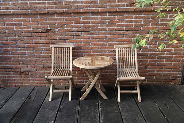 ミニ折り畳み3点セット 無塗装 折りたたみ 木製 ガーデンファニチャーセット カフェ 庭 テラス アウトドア おしゃれ バルコニー
