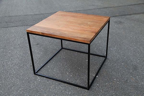 アイアンウッドキューブテーブル単品 チーク 木製 アイアン ガーデンテーブル 机 テラス アウトドア おしゃれ モダン