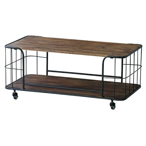 センターテーブル 幅99cm 天然木 収納付き スチール キャスター付き ローテーブル リビングテーブル コーヒーテーブル カフェテーブル 机 つくえ 作業台 モダン 北欧 ブルックリン 西海岸 男前 インテリア おしゃれ アンティーク