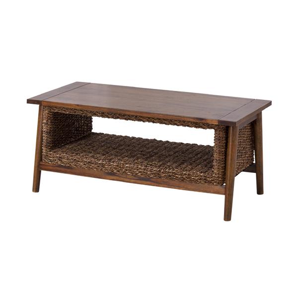 コーヒーテーブル カフェテーブル 幅100cm アバカ 木製 棚付き 収納付き ローテーブル センターテーブル リビングテーブル 座卓 おしゃれ アジアンリゾート 北欧 モダン レトロ 一人暮らし ブラウン