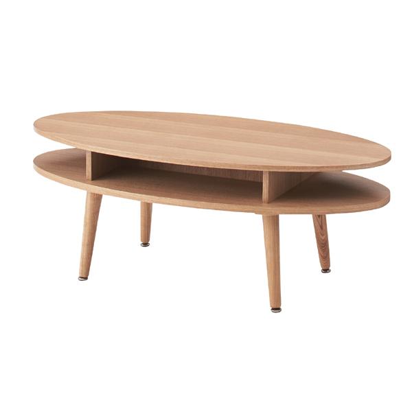 センターテーブル 幅105cm 木製 棚 収納 オーバルテーブル だ円形 楕円形 ローテーブル リビングテーブル コーヒーテーブル カフェテーブル 机 つくえ 作業台 天然木 モダン 北欧 ブルックリン 西海岸 男前 インテリア おしゃれ アンティーク ナチュラル