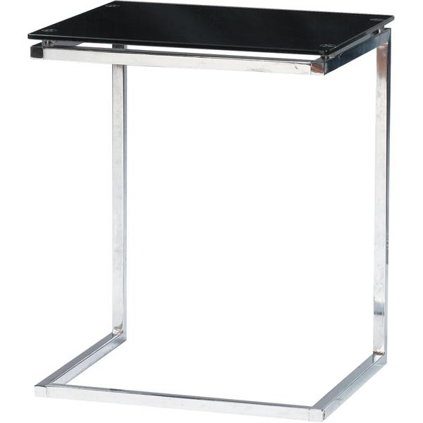 ガラスサイドテーブル 幅45cm スチール スリム コンパクト ナイトテーブル ベッドサイドテーブル ソファーサイドテーブル レトロ モダン 北欧 ブルックリン 西海岸 男前 インテリア おしゃれ アンティーク ブラック