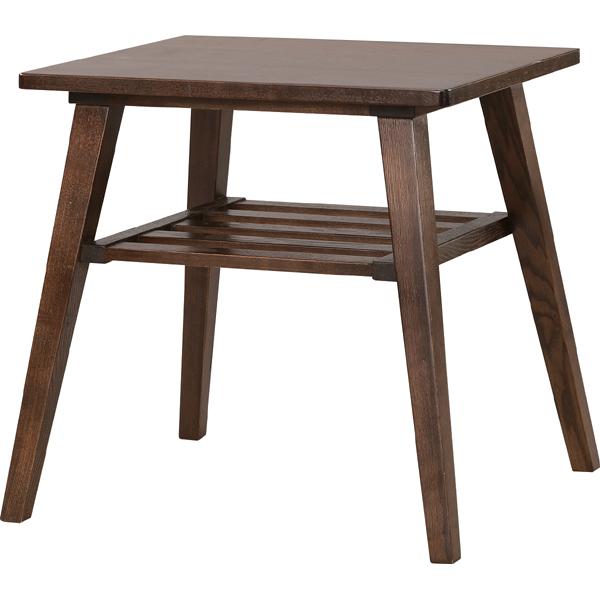 完成品 サイドテーブル 幅50cm 木製 木目 棚付き スリム コンパクト ナイトテーブル ベッドサイドテーブル ソファーサイドテーブル レトロ モダン 北欧 ブルックリン 西海岸 男前 インテリア おしゃれ アンティーク ブラウン