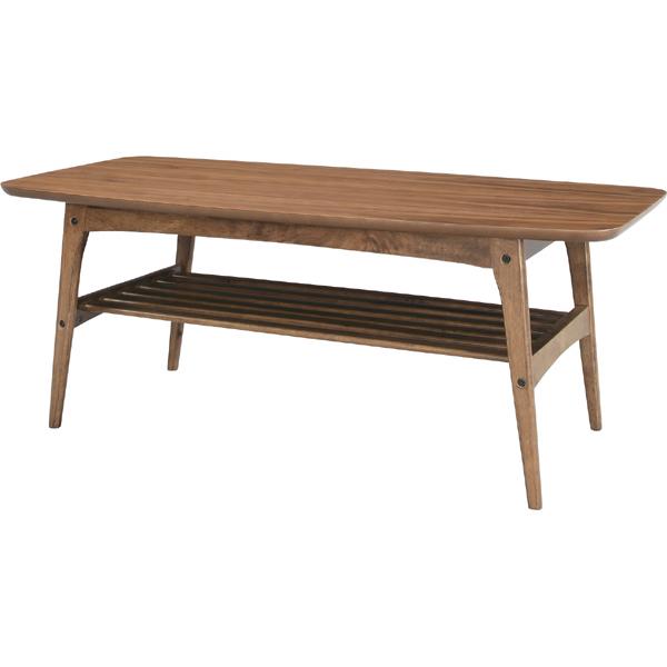 コーヒーテーブル カフェテーブル 幅105cm 木製 天然木 木目 棚付き収納 ローテーブル センターテーブル リビングテーブル 座卓 おしゃれ カントリー フレンチ 北欧 モダン レトロ 一人暮らし ウォルナット