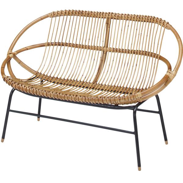 完成品 ラブチェア ラタンチェア アイアン ガーデンチェア いす イス 椅子 ガーデンファニチャー バルコニー テラス 庭 ベランダ おしゃれ