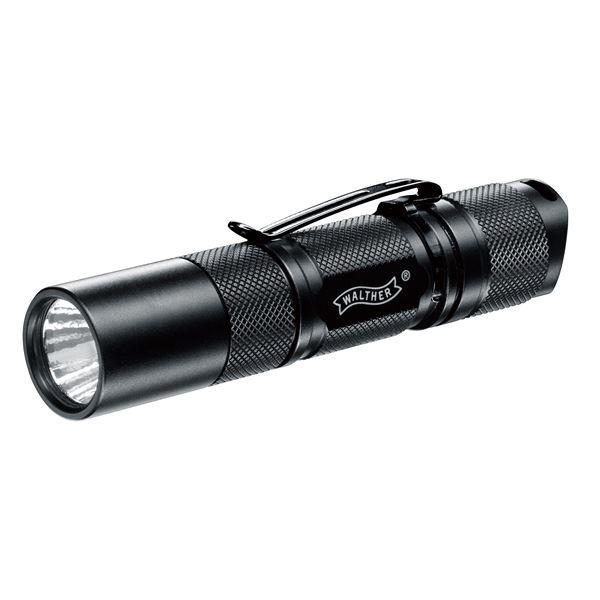 LEDフラッシュライト(懐中電灯) アルミニウムボディ 軽量/スリム ベルトクリップ/ネックストラップ付き ワルサー MGL300