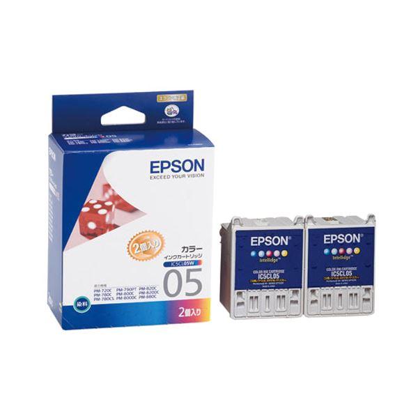 (まとめ) エプソン EPSON インクカートリッジ カラー(5色一体型) IC5CL05W 1箱(2個) 【×6セット】